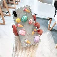 funda iphone chocolate 3d al por mayor-Lindo 3D Glitter Macaron Funda de silicona para teléfono Dulces helados de chocolate Cubierta posterior para iphone 7 8 Plus Casos