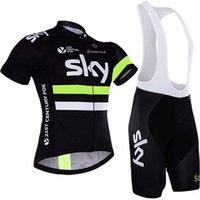 takım gökyüzü bisiklet mayo kısa şort toptan satış-Tour de France Bisiklet Giyim Erkekler 2019 SKY Takım Pro Bisiklet Jersey Önlüğü Şort Sürme Elbise Bisiklet Giyim Gömlek Ropa Ciclismo Trendy Sportwear