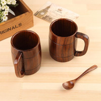 Wholesale tea warmers for sale - Group buy 400 ml Wooden Classical Beer Cup with Handles Home Office Party Drinking Set Wooden Tea Cup Coffee Cup T3I5319