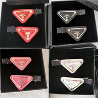 Wholesale barrettes for hair resale online - New Arrival Triangel Hair Clip with Stamp Colors Women Letter Triangle Barrettes Fashion Hair Accessories for Gift