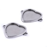 Wholesale diy jewelry trays for sale - Group buy Shukaki Stainless Steel Fit mm Dia Heart Cabochon Connector Base Setting Trays Diy Blank Bracelet Necklace Bezels For Jewelry Making
