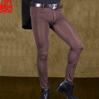 calças de gelo venda por atacado-Sexy Men Pants Transparente Ice Silk ver através Calças elástico apertado de seda Calças Lápis Erotic Lingerie Clube Gay Wear F90