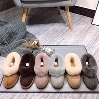 Wholesale furry heels resale online - Brand U Women Boots Designer Furry Slides Fur Slippers Sandals Winter Australia Snow Boots Slip On Loafers Snow Shoes LJJA3546