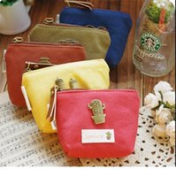 vintage çanta paralı anahtarlık toptan satış-Yaratıcı retro kadınlar kanvas çanta Sikke anahtarlık tuşları cüzdan çanta değişim cep tutucu organize kozmetik makyaj çantası Sıralayıcısı D0725