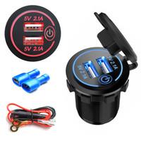 Wholesale 12v dc sockets resale online - DC V V Car Cigarette Lighter Socket Dual USB Car Charger Adapter A For Phone MP3 DVR Accessories