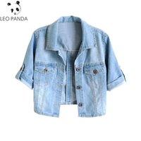 blaue koreanische jacke groihandel-Frauen Plus Size S-4XL 2019 neue Frühlings-Sommer-koreanische Kurzjacken Stretch Kurzarm-Jeansjacke Thin Light Blue Jeans Mäntel