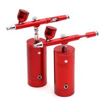 kits de pistola de pintura de cepillo de aire al por mayor-Aerógrafo inalámbrico de doble acción con kit de compresor Pistola pulverizadora de pintura Pluma USB Cargador de batería Portátil Juego de cepillo de aire