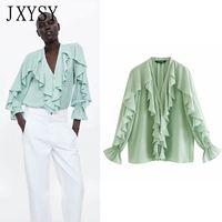 blusa de poliéster venda por atacado-JXYSY blusas mujer de moda 2019 inglaterra estilo algodão poliéster babados sopro manga kimono blusa mulheres tops e blusas
