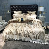 ägyptische seide groihandel-Luxus Europäische 140S Satin Silk Jacquard Bettwäsche Set Goldspitze Bettbezug Bettwäsche aus ägyptischer Baumwolle Spannbettlaken Kissen-