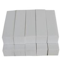 beyaz blok tamponları toptan satış-Araçlar Dosyalar 10pcs Beyaz Renkler İpuçları Tırnak Manikür Araçlar Tırnak Sanat Tampon Bloğu Emery Kurulu için 4 Yolları Zımpara Zımpara