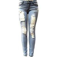 ingrosso denim leggero strappato le donne dei jeans-Jeans skinny donna Jeans skinny Pantaloni jeans donna blu chiaro Jeans strappati elasticizzati blu scuro per