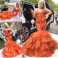 frisado longo vestido laranja venda por atacado-2019 nova orange orange sereia vestidos de baile halter lantejoulas de cristal frisada organza babados lantejoulas hierárquico longo sexy evening vestidos de festa