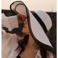витражные соломинки оптовых-MAXSITI U Женщины 2019 лето Хепберн Стиль Vintage Design Пряжа сторона Соломенная шляпка Сплошной цвет Пляж Holiday Beach Hat Big Sun