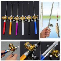 Wholesale pen wheels resale online - Mini Pocket Telescopic Fishing Pole Aluminum Alloy Pen Lightweight Portable Shape Folded Fishing Rods With Reel Wheel ZZA275