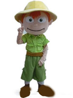 Wholesale movie costumes for sale online - 2019 High quality hot a boy mascot costume with a green shirt and a yellow hat for sale