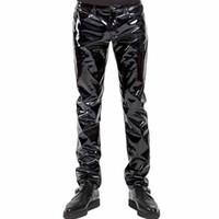 ingrosso pantaloni feticci uomini-Pantaloni uomo gotico punk Pantaloni sexy con cerniera in vinile in lattice Wetlook Uomini Pantaloni in pelle sintetica nera con ballo gay Fetish Pantalones Hombre