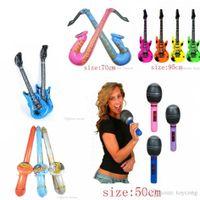 micrófonos para la enseñanza al por mayor-Party Balloons toys Música juguetes inflables modelo enseñanza SIDA micrófono guitarra parlantes juguetes infantiles inflables son bienvenidos a comprar