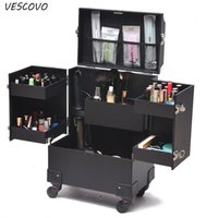 Wholesale luggage for women for sale - Group buy VESCOVO Cosmetic Case Profession Suitcase For Woman MakeupTrolley Box Nails Beauty Luggage travel Cosmetic Bag With Wheels