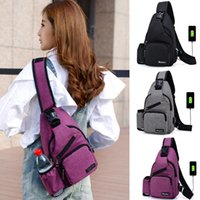 Wholesale hot chest women for sale - Group buy MAIOUMY USB Design Sling Bag Men Women Couple Chest Bag Large Capacity Outdoor Sports Hot Selling Crossbody Travel Bags
