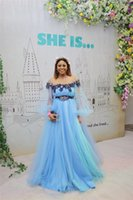 Wholesale plus size navy flowered dress for sale - Group buy 2019 Sexy Off Shoulder Poet Long Sleeves A line Prom Dress Cheap Pageant Fomal Gown Hand Made Flowers Long Evening Pageant Dress