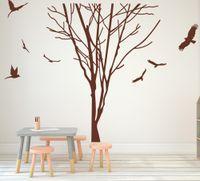 etiqueta do vinil do ramo do pássaro venda por atacado-Grande Ramo Árvore Tronco Aves Decalque Da Parede Quarto Quarto Dos Miúdos Da Floresta Natureza Tronco Ramo Planta de Plantas Animais Adesivos de Parede Arte Do Vinil