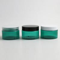 кремовые банки оптовых-24 х 120 г Пустые темно-синие косметические контейнеры для крема Баночки для крема 120cc 120 мл для косметической упаковки Пластиковые бутылки Пластиковая крышка