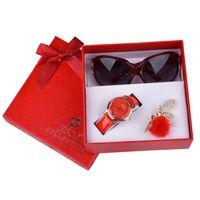Wholesale christmas glasses sunglasses resale online - Girl christmas gift new year gift Fashion Clock Women Watches leather Quartz Wristwatch Sunglasses corsage ladies box
