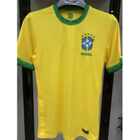 Wholesale brazil away jerseys resale online - 2020 Top Thai quality brazil soccer jersey PAULINHO home yellow away White PELE D COSTA G JESUS Brazil football shirt