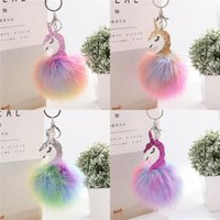 Wholesale plush ornaments online - Unicorn Plush Key Ring Women Fluffy Keychain Bag Backpacks Hanging Ornaments Soft Practical Decorative High Quality er D1