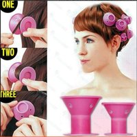 salon hair color sets بالجملة-SILICONE curlers 10Pcs set Hair Style Soft Hair Care DIY Peco Roll Hair Style Roller Selicone Salon Soft Pink Color Hair Roller
