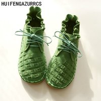 ingrosso scarpe artistiche fatte a mano-Huifengazurrcs-Pure Handmade Shoes, the Retro Art Mori Girl Flats Shoes, moda Casual Shoes, vintage Sweet Leather Shoes, 3 colori Y190704