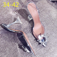 sandales de fête beiges achat en gros de-Sexy Talons Sandales Chaussures Femme Argent Strass Chaussures De Mariage Talons Hauts Parti Chaussures D'été Hauteur Talons Sandales Y19070303