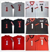 0f567fde1 NCAA 2019 Ohio State Buckeyes #1 Justin Fields Georgia Bulldogs college  White Black Red Orange Football Jersey embroidered Stitched logos