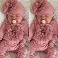Wholesale yellow flower hat for sale - Group buy 2PCS Newborn Baby Girl M Clothes D Flower Romper Jumpsuit Hat Outfit Set infant onesie with headband one piece