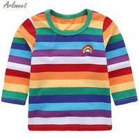 Wholesale rainbow baby boys clothing resale online - Toddler Kids Baby Girl Boy Rainbow T shirt Tops Striped Outfits Clothes Kids Coat Baby Boy Shirt Clothes Fashion New