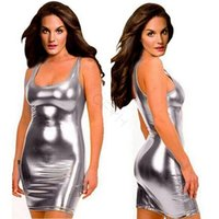 Wholesale plus sexy women costume for sale - New Hot sale Women Sexy Leather Dresses Latex Club Wear Costumes Clothing PVC Dress Plus Size