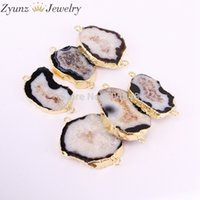 Wholesale agate slab beads resale online - 5PCS ZYZ323 Black amp White color Nature Slab Agates Geode Connector Beads Gold Electroplated Stone Beads