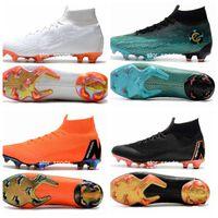 futbol us5 toptan satış-2018 Chaussures nike Mercurial Superfly VI 360 Elite FG Fly Örgü Çocuk Erkek Futbol Kramponlar Cr7 chaussures Kramponlar de futbol botas de fútbol Eur 35-45