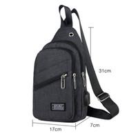 ingrosso fionda della spalla della tela-Fashion New Men Chest Pack Messenger Sling Canvas Materiale Crossbody Shoulder Solid Design Bag Supporto USB ricarica Zipper Borse