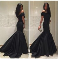 Wholesale chrismas girl dress for sale - Group buy Arabric Mermaid Evening Dresses Off Shoulder Backless Sweep Strain Special Occasion Dresses Black Girl Formal Party Prom Gowns Chic Vestidos