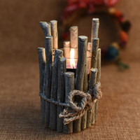 Wholesale wooden pen holders resale online - 1pc Wooden Candle Holders Vintage Creative Pen Holders Tea Light Candle Holder for Bar Home Decoration Party Supplies