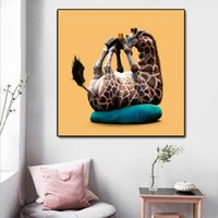 Wholesale wall art oil painting giraffe resale online - Modular Poster Modern HD Printed Wall Art Cute Animal Abstract Giraffe Canvas Pictures Paintings Home Decoration Framework