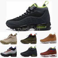 botas de trabajo marrones hombres al por mayor-Nuevas botas de cojín de moda Botines negros verdes marrones Botas de trabajo impermeables superiores Zapatillas de deporte para hombres Zapatillas de deporte al aire libre