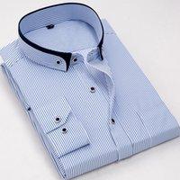 camisa de negocios de hierro al por mayor-la moda pequeño botón de doble cuello de manga larga del ajuste delgado cómodo suave de rayas que no se planchan las camisas hombres de negocios del vestido formal