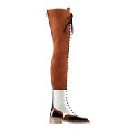 botas delanteras de encaje de cuero de las mujeres al por mayor-Botas largas de cordones delanteras para mujer Cadenas de punta redonda Suela Zapatos de cuero genuino y gamuza para mujer Botas de montar de retazos