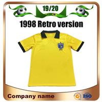 Wholesale brazil world cup jerseys for sale - Group buy 1998 Retro Edition Brazil Soccer Jersey World Cup Brazil Home Soccer Shirt RONALDO Short sleeve football uniforms Sale