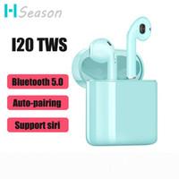 iphone kulaklıklar hd toptan satış-I20 TWS Kulaklık Bluetooth 5.0 Kulakiçi Kablosuz Kulaklıklar Şarj Kutusu Ile HD Ses Kulaklık PK i14 i12 tws