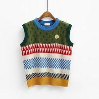 ingrosso gilet di maglione-Pop art coreano vento retrò colore patchwork stampato carino maglione maglia donna casual girocollo sciolto pullover a maglia pullover