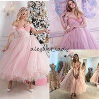 Wholesale tea length vintage style prom dress resale online - Tea length Pink Prom Formal Dresses Off Shoulder Beaded Pearls Arabic Dubai Style Occasion Evening Dress Wear
