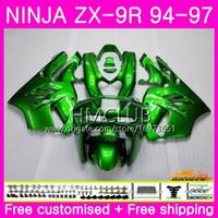 ninja r 1997 toptan satış-KAWASAKI NINJA Için Zımpara ZX 9R ZX900 ZX-9R 94 95 96 97 Kiti 69HM.0 ZX 9 R 94 97 900CC ZX9R 1994 1995 1996 1997 Tam Kaporta Parlak yeşil sıcak